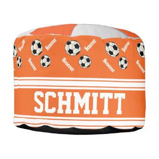 Modelo del naranja del fútbol, blanco y negro del puf redondo
