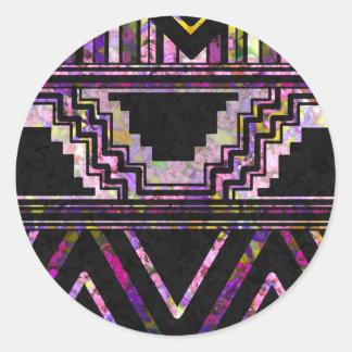 Modelo del nativo americano pegatina redonda
