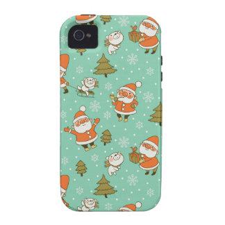 Modelo del navidad del oso de Santa y de peluche iPhone 4 Fundas