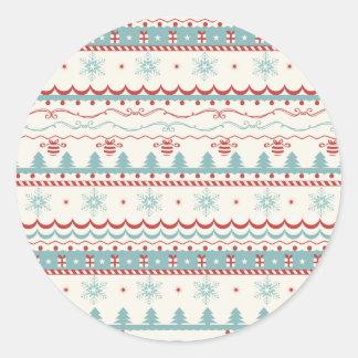 Modelo del navidad del vintage pegatina redonda