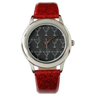 Modelo del negro de la diversión, blanco y rojo de reloj de mano