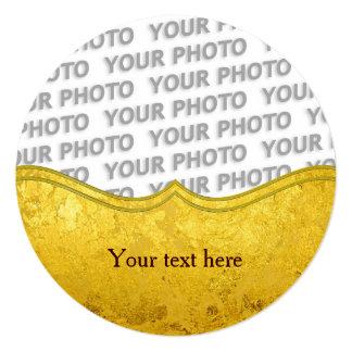 """Modelo del ORO/hoja de oro PUROS + su foto y texto Invitación 5.25"""" X 5.25"""""""