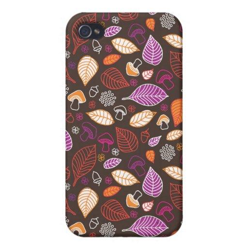 Modelo del otoño del Doodle con el caso del iphone iPhone 4 Cobertura