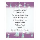 Modelo del pájaro de Peahen en púrpura Invitación Personalizada