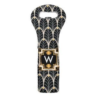 modelo del Palmetto del negro del art déco de los Bolsas Para Botella De Vino