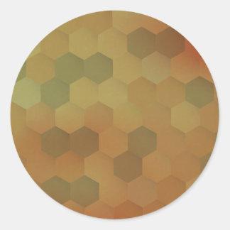 Modelo del panal del hexágono del vintage pegatina redonda