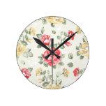 Modelo del papel pintado de la elegancia de rosas  reloj redondo mediano