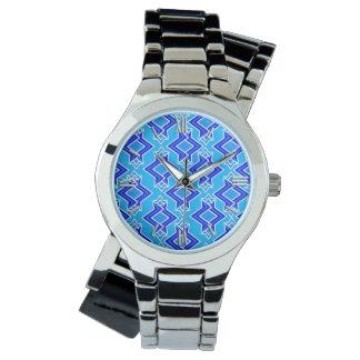 Modelo del papel pintado del art déco, azul relojes de pulsera