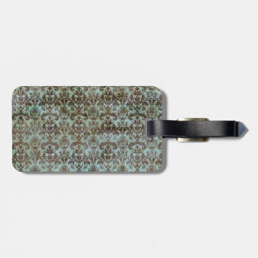 Modelo del papel pintado del damasco de la aguamar etiqueta de maleta