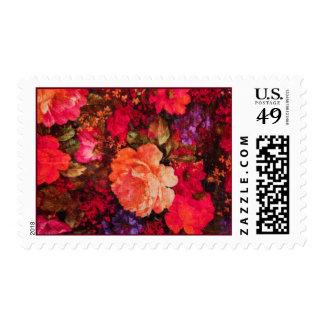 Modelo del papel pintado floral del vintage timbre postal