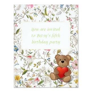 """Modelo del papel pintado floral invitación 4.25"""" x 5.5"""""""