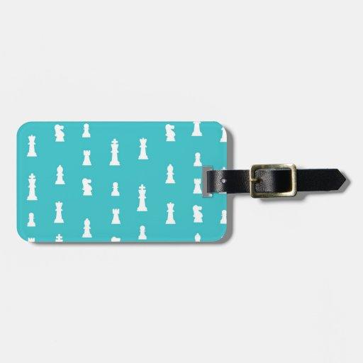 Modelo del pedazo de ajedrez - azul del trullo etiqueta para equipaje