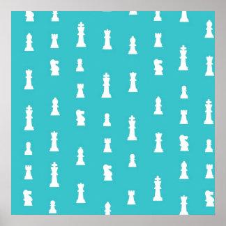 Modelo del pedazo de ajedrez - azul del trullo posters