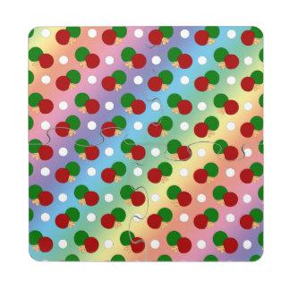Modelo del ping-pong del arco iris posavasos de puzzle