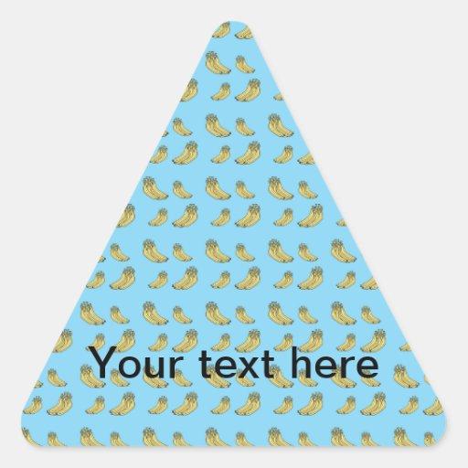 Modelo del plátano en fondo azul calcomanía trianguladas personalizadas