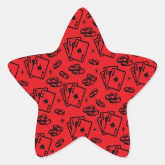 Modelo del póker de la veintiuna pegatina en forma de estrella
