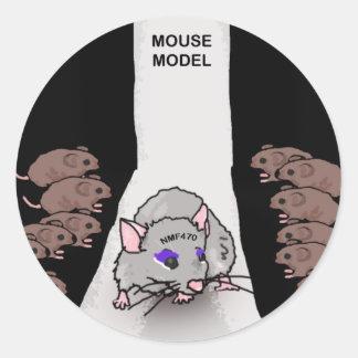 Modelo del ratón pegatina redonda
