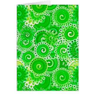 Modelo del remolino del fractal, sombras del verde tarjeta pequeña