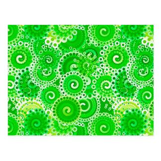 Modelo del remolino del fractal, sombras del verde tarjeta postal