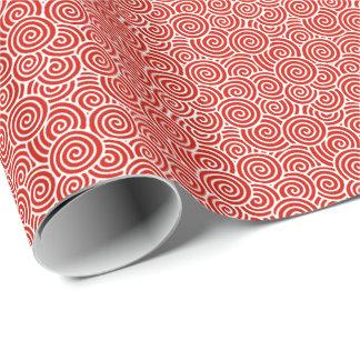 Modelo del remolino del japonés - de color rojo papel de regalo