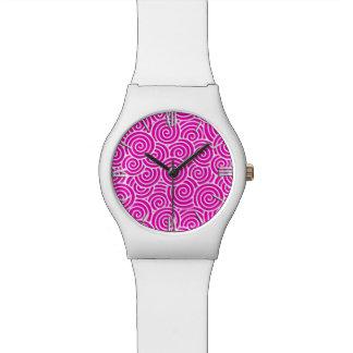 Modelo del remolino del japonés - rosado fucsia y relojes de pulsera