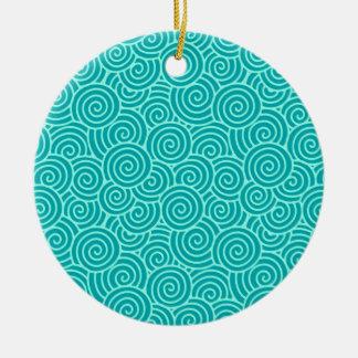 Modelo del remolino del japonés - turquesa y adorno redondo de cerámica