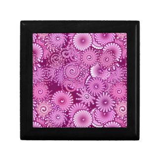 Modelo del remolino, púrpura, rosa, ciruelo, lila joyero cuadrado pequeño