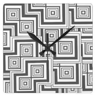 Modelo del rompecabezas del carbón de leña reloj cuadrado