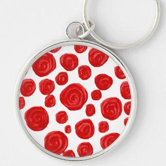 Modelo del rosa rojo llavero redondo plateado
