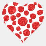 Modelo del rosa rojo pegatinas de corazon personalizadas