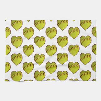 Modelo del softball del amor toallas