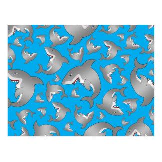 Modelo del tiburón azul de cielo postal