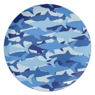 Modelo del tiburón azul plato para fiesta