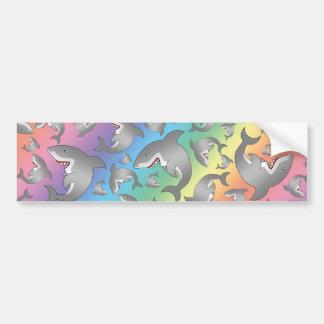 Modelo del tiburón del arco iris pegatina de parachoque