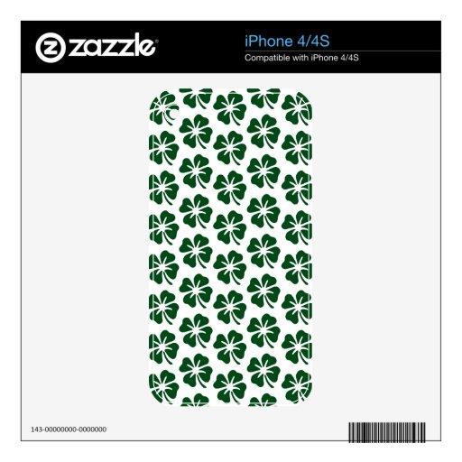 Modelo del trébol de cuatro hojas iPhone 4 skin