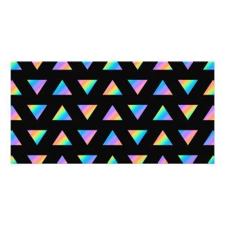 Modelo del triángulo del multicolor tarjeta personal con foto