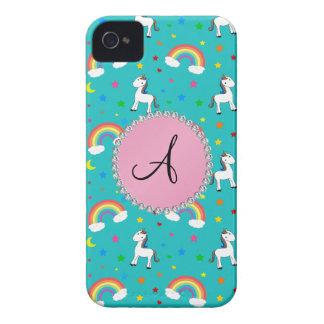 Modelo del unicornio de la turquesa del monograma iPhone 4 funda