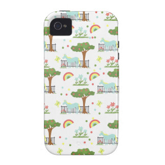Modelo del unicornio del jardín Case-Mate iPhone 4 carcasas