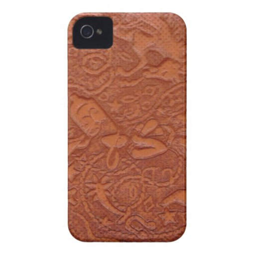 Modelo del vaquero de la mirada de la piel de vacu Case-Mate iPhone 4 carcasa