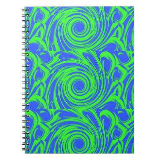 Modelo del verde azul de pavo real libretas espirales