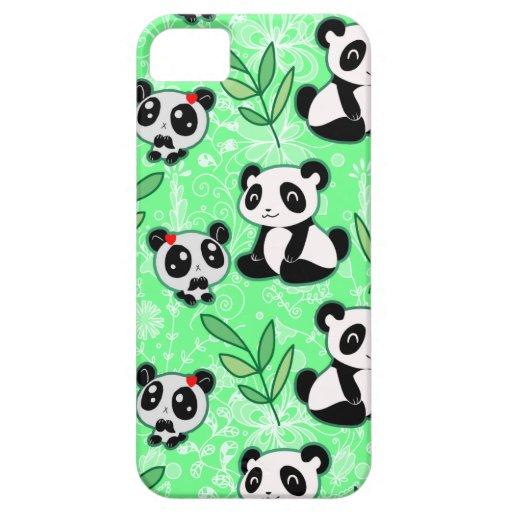 Modelo del verde de la panda de la madre y del beb iPhone 5 Case-Mate carcasa