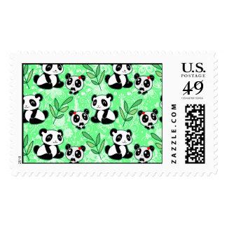 Modelo del verde de la panda de la madre y del beb franqueo