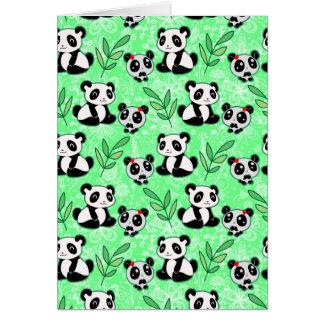 Modelo del verde de la panda de la madre y del beb tarjeta de felicitación