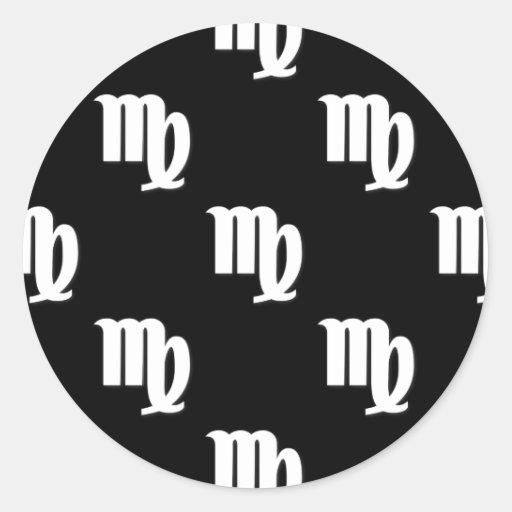 Modelo del virgo blanco y negro etiquetas