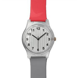 Modelo desigual de la raya del Lt blanco gris Relojes De Pulsera