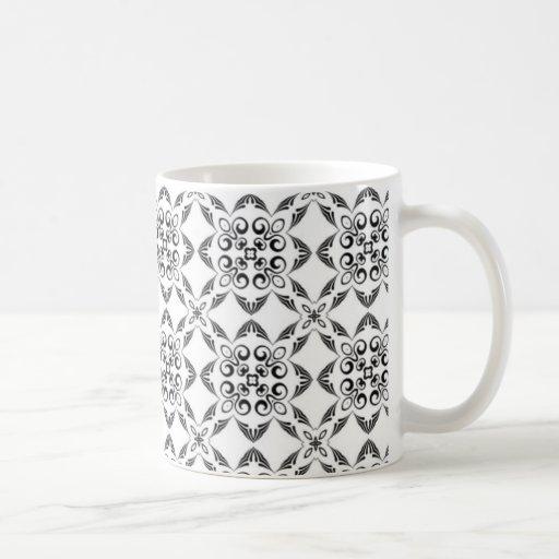 Modelo detallado blanco y negro taza