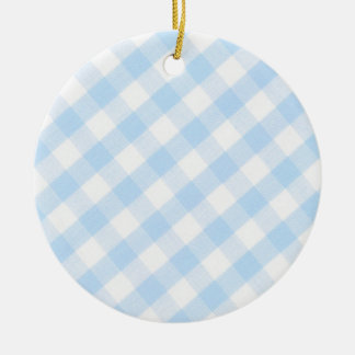 Modelo diagonal azul claro de la guinga adorno redondo de cerámica