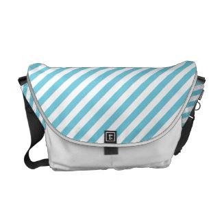 Modelo diagonal azul y blanco de las rayas bolsas de mensajeria