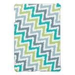 Modelo diagonal azul y verde de Ikat del zigzag iPad Mini Funda