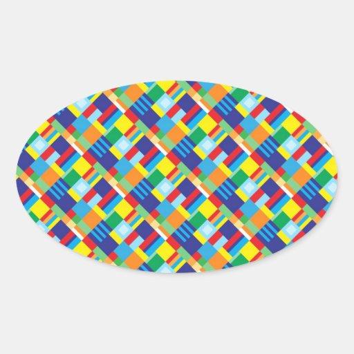 Modelo diagonal colorido intrépido bonito del pegatina ovalada